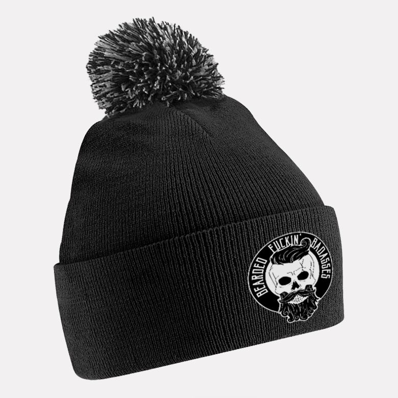 dca65581 Bearded Fuckin' Badasses Beanie - Mixed Bobble - Scruff Stuff